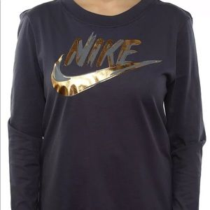 NIKE INDIGO LONG SLEEVE TEE METALLIC GOLD 🔥